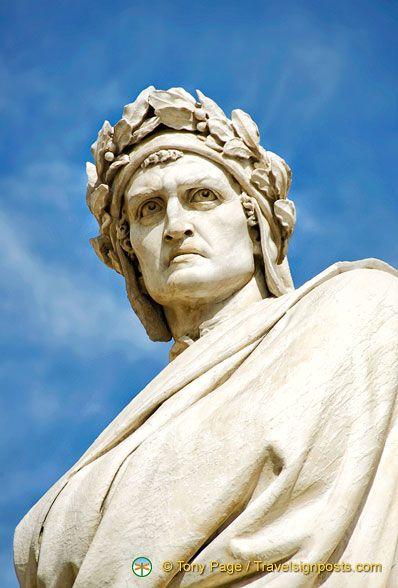 A closeup view of Dante Alighieri in Florence