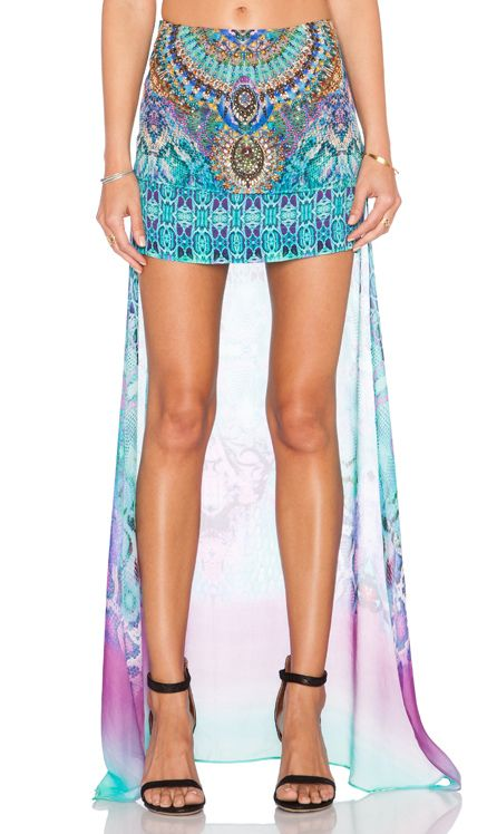 Camilla Long Back Short Skirt in Tides of Aurora   REVOLVE
