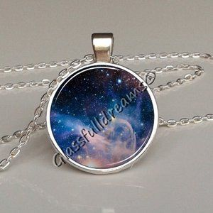 Blue Galaxy Orion Nebula necklace, Outer space jewelry necklace Glassfulldreams jewelry Glassfulldreams handmade jewelry,Made in uk,Astronomy Space jewelry Science Best gifts for space lovers