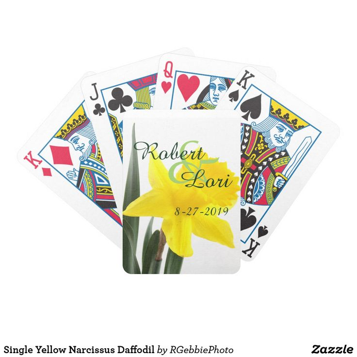 Single Yellow Narcissus Daffodil Bicycle Playing Cards - $26.95 - Single Yellow Narcissus Daffodil Bicycle Playing Cards - by #RGebbiePhoto @ #zazzle - #Daffodil #Yellow #Flowers - A vibrant yellow narcissus daffodil over white. Personalize this line with customizable Monogram! Add Your initial to customize! Symbolizing rebirth and new beginnings, the daffodil is virtually synonymous with spring. Though their botanic name is narcissus, daffodils are sometimes called jonquils, and in England…