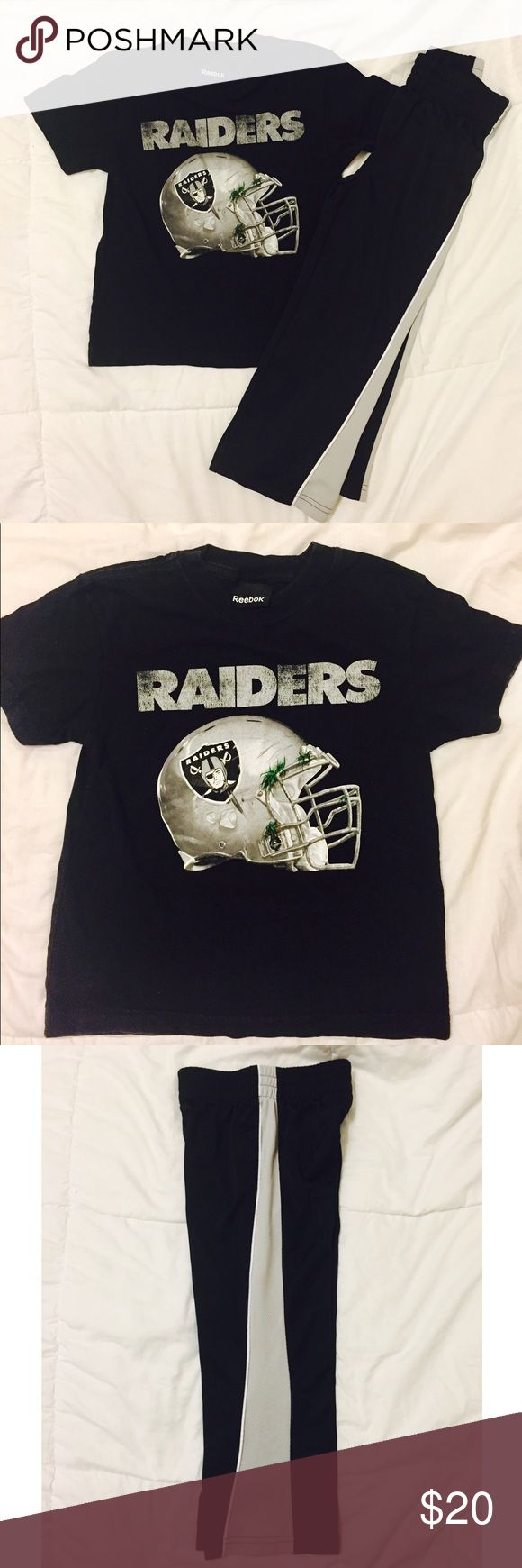 NFL OAKLAND RAIDERS Shirt Size 5/6 NFL OAKLAND RAIDERS Shirt Size 5/6 by Reebok and pants Size: (S) 4 by Jumping Beans.  It's not a set but they match. Good condition. Any Raider kid would wear it proudly! Reebok Shirts & Tops Tees - Short Sleeve