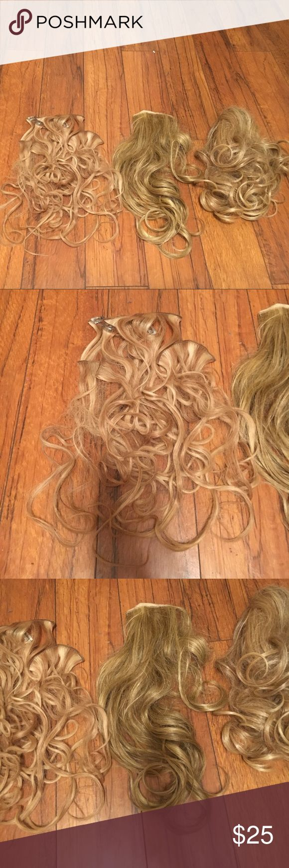 100% Human Hair Clip-On Extensions 100% Human Hair Clip-On Extensions. These are for blonde hair! Full set of clip-ons, ponytail piece, and large thickness piece all included. Make an offer!:) Accessories Hair Accessories