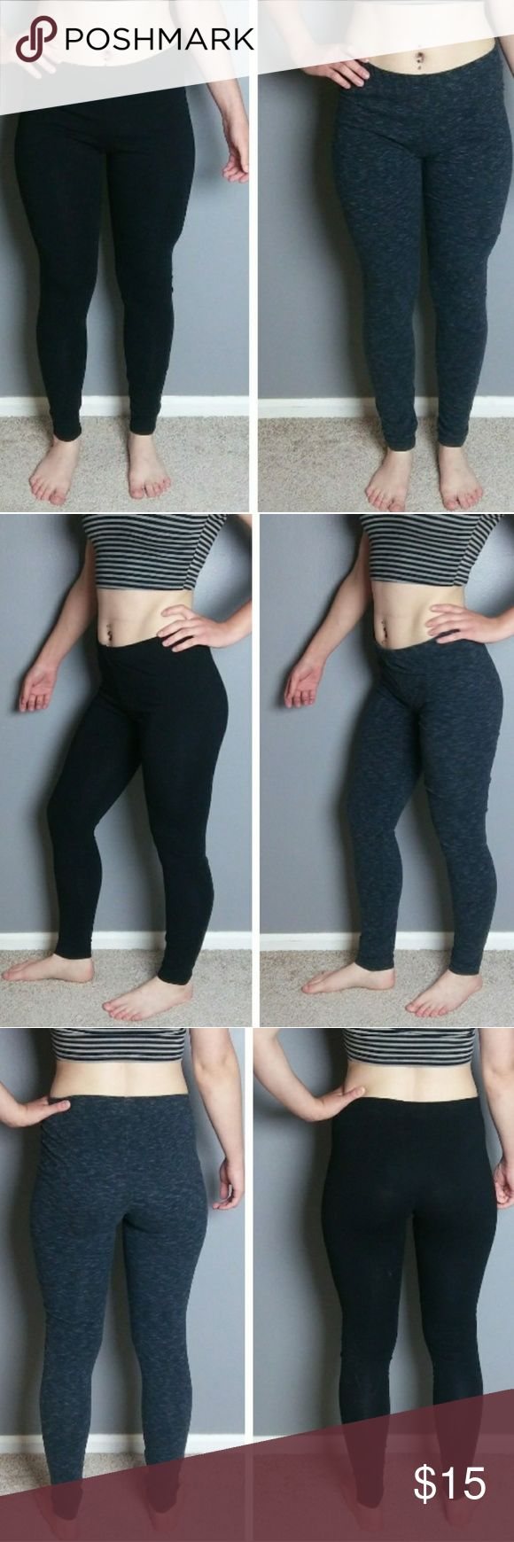 Lot of 2 - Divided (H&M) leggings Includes two pairs of leggings - one black, one dark heather / charcoal grey. Both same size / cut / fit.  Grey: Made in Cambodia.  96% cotton, 4% spandex.  Black: Made in India.  95% cotton, 5% spandex.   Both in great used shape with no pilling, stretching, holes, or stains. I am able to separate the bundle by request. Divided Pants Leggings