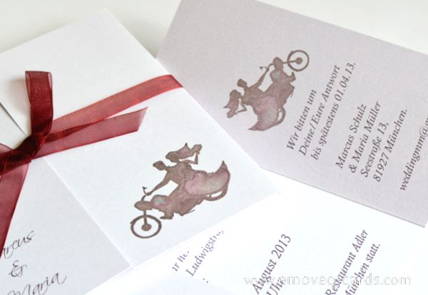 Romatic wedding invitation for motorbike fans! by e-MoVeo Cards Invito matrimonio moto Hochzeitseinladung Motorrad   www.emoveo-cards.com