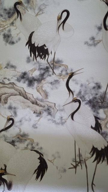 Bird wallpaper design   kraanvogel wit grijs zwart chinees japans oosters vogels vinyl behang 52