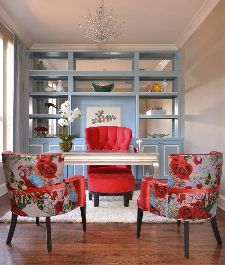 Love this look! Great use of dividing the room with a clean classic look.  Love the chairs. Cherry and Blue office