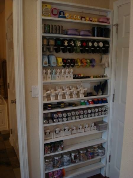 #papercraft #crafting supply #organization: Storage for punches, etc. I have seen this in real-life and am dying to do this in my craft room. :-) hey it's behind the door!