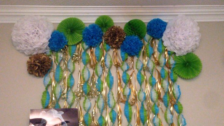 Blue green white and gold dessert table backdrop