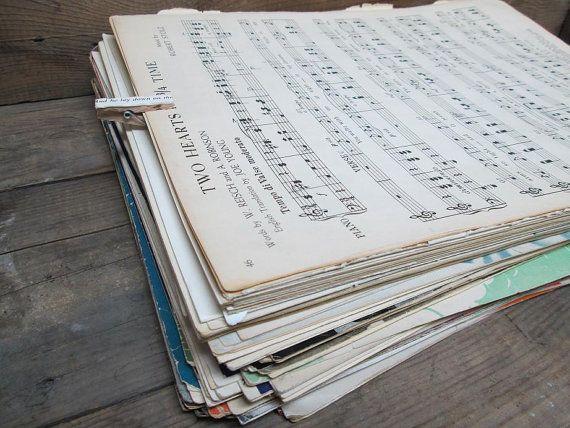 Sheet Music Bundle, 50 Sheets of Vintage Sheet Music, Paper Ephemera, Sheet Music Decor, Sheet Music Sheets, Vintage Sheet Music