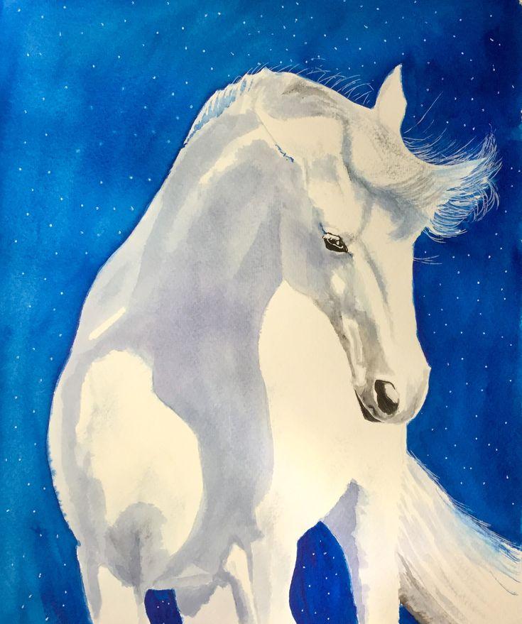 Starlite Stallion #art #watercolour #horse