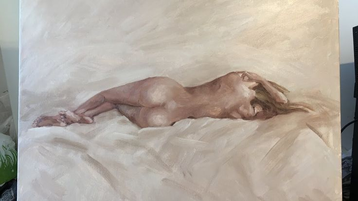 Painting with oil for beginners / nude body