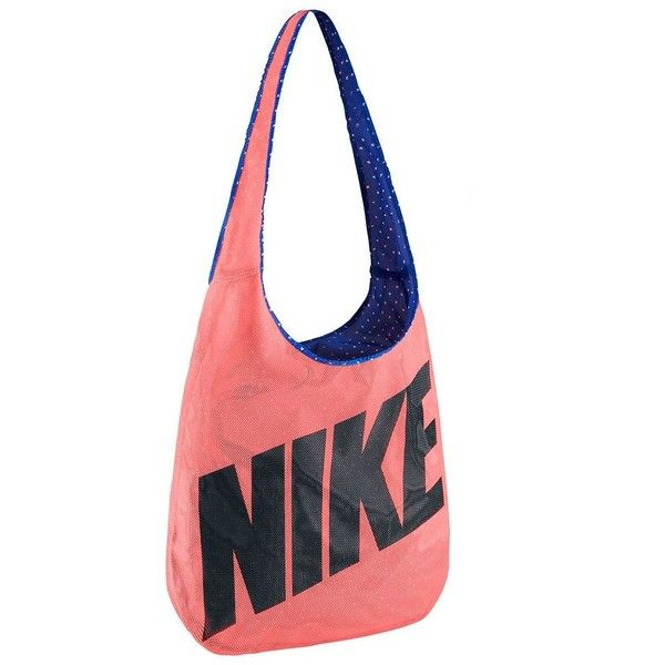Nike Reversible Shoulder Bag (52 NZD) ❤ liked on Polyvore featuring bags, handbags, shoulder bags, orange, shoulder bag tote, crossbody shoulder bags, long strap shoulder bag, long strap purse and polka dot tote