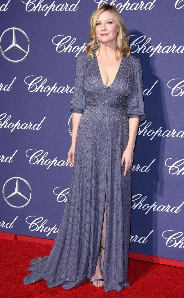 Kirsten Dunst from 2017 Palm Springs International Film Festival  TheHidden Figuresactress shimmered in a beaded blue gown with puff sleeves and button accents.