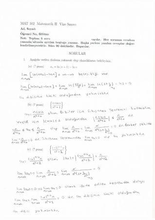 Matematik-2 Vize Soruları ve Çözümleri