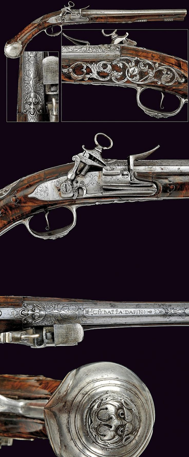 A flintlock pistol by Harvey of noble property, dating: late 17th Century provenance: Central Italy