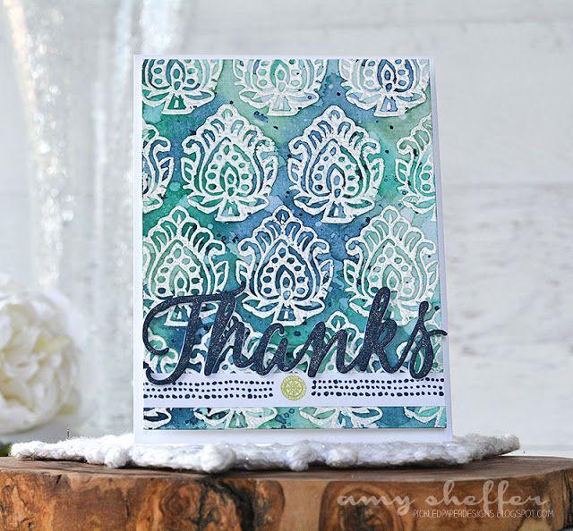 Pickled Paper Designs:  PTI Woodblock Prints stencils + Big Basics: Thanks die