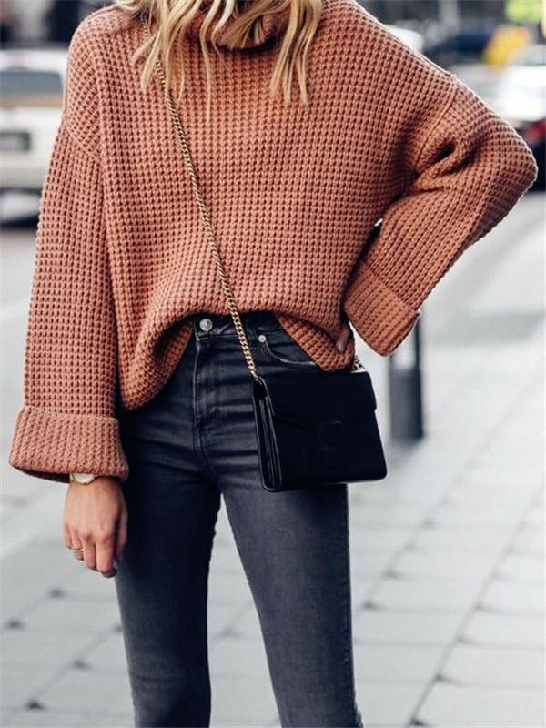 2019 Fashion Outfit Ideas - New Coffee Print Polo Neck Long Sleeve Fashion Pullover Sweater 1