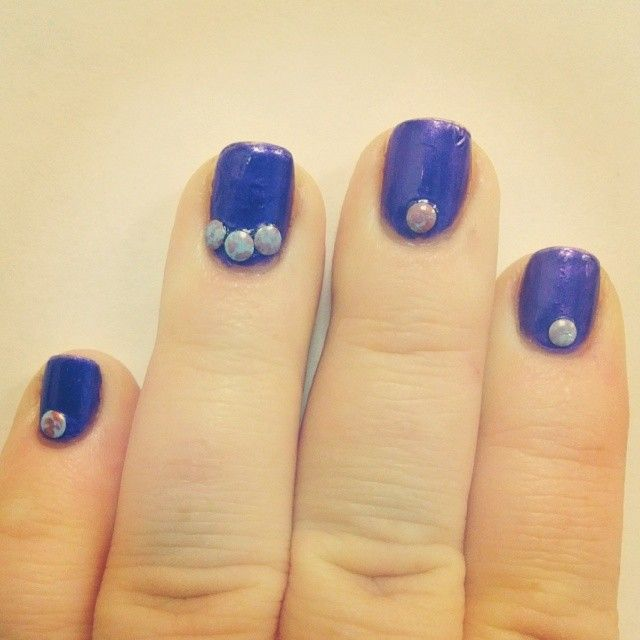 Milani Purple Passion with 3mm blue/purple round studs.