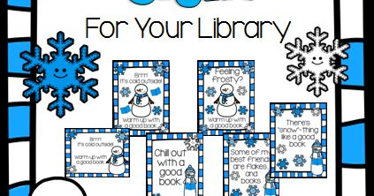 Free Winter Classroom Library Signs