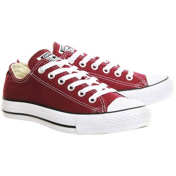 All Star Low Leather Trainers by Converse Supplied by Office ($60) ❤ liked on Polyvore featuring shoes, sneakers, leather lace up shoes, laced sneakers, lacing sneakers, lace up shoes and star sneakers