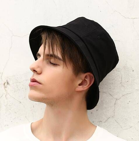 Plain white bucket hat for men cotton on package hats