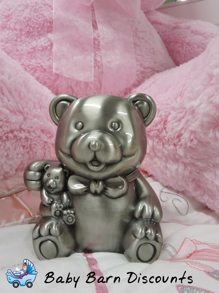 Teddy Money Box with Pewter Finish