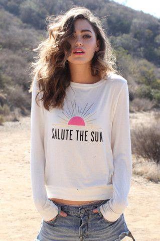 SALUTE THE SUN SAVASANA PULLOVER MOONBEAM http://spiritualgangster.com/collections/womens/products/salute-the-sun-savasana-pullover-moonbeam