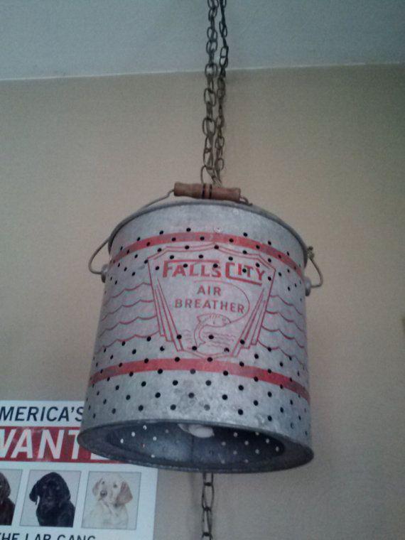 Hanging Minnow Bucket Light by fleamarketman on Etsy, $100.00