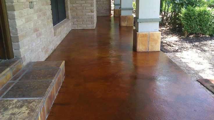 Front Porch Concrete Staining New Braunfels TX Bold
