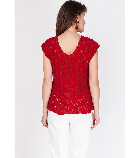 FashionSupreme - Tricou tricotat de culoare roșie Desire - Haine de damă - Tricouri - Lichidare de stoc - bluze și tricouri. Haine şi accesorii de marcă. Haine de designer.