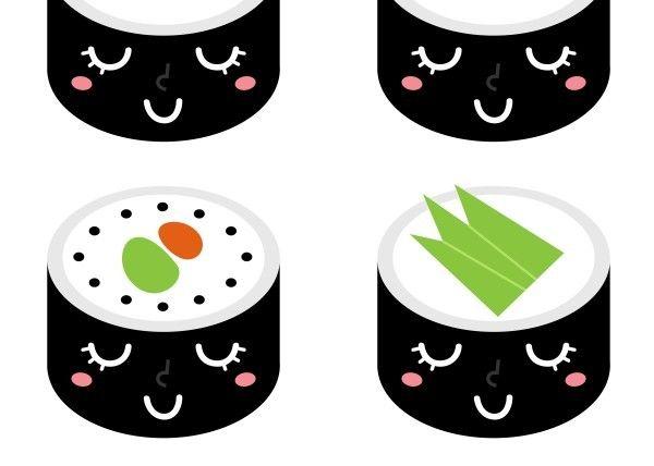 New! Sushi displates in Creative shop. SHOP cute Sushi characters : black n white