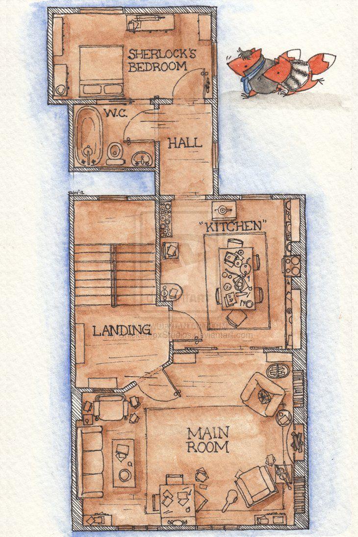 Living room victorian pinterest baker street sofas and 221b - Floor Plan For 221b Baker Street Via The Bbc Tv Series Sherlock