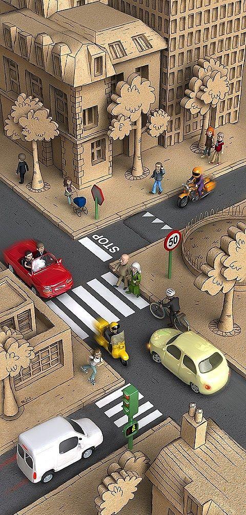 Urban Utopia - Beautiful 3d Cartoons by Matt Roussel