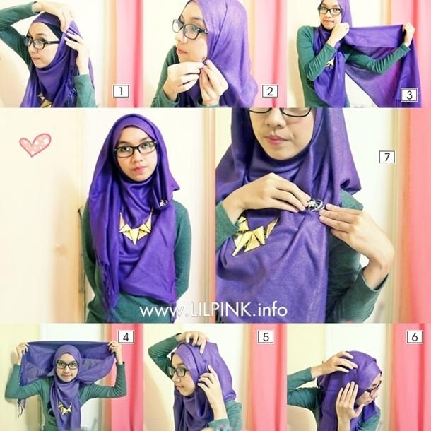 Simple and easy daily hijab tutorial with necklace