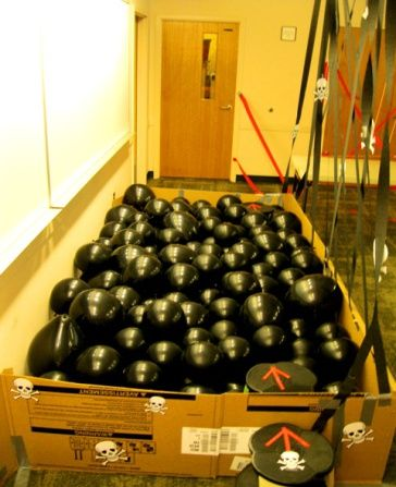 Deadly balloon minefield.  Spy Training Academy at Rachel Moani's Library.  Thanks for the awesome ideas, pinterest.