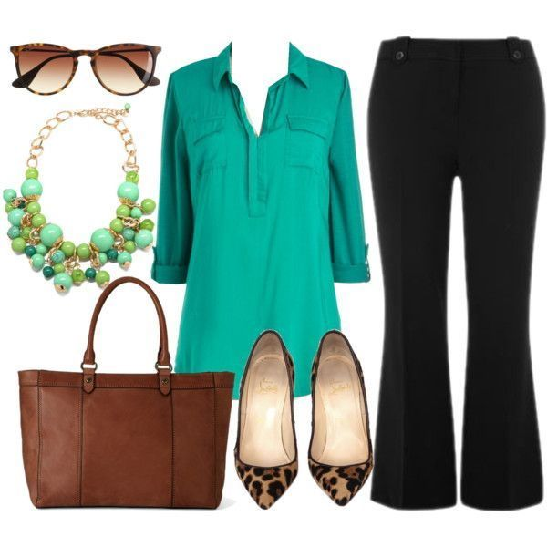 Dark turqouise tunic-shirt, black bootcut pants, statement neckpiece, leopard print pointed toe flat pumps, brown leather tote bag and tortoise sunglasses