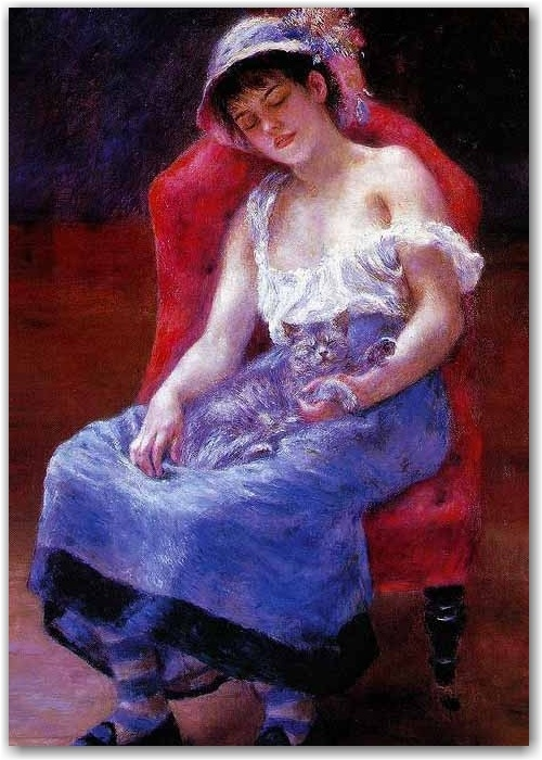 Renoir 19th C  Girl sleeping with cat
