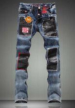 Adatti a Nuovo Delle Donne Patchwork PU Pantaloni di Cuoio di Modo Ricamo Jeans Leggeri(China (Mainland))