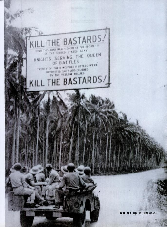 Sign put up by US Army Infantry on Guadalcanal, Sept. 1943