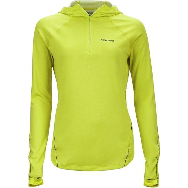 Marmot Indio 1/2-Zip Hooded Shirt ($110) ❤ liked on Polyvore featuring activewear, activewear tops, neoprene shirt, double layer shirt, yellow shirt, insulated shirt and marmot shirts