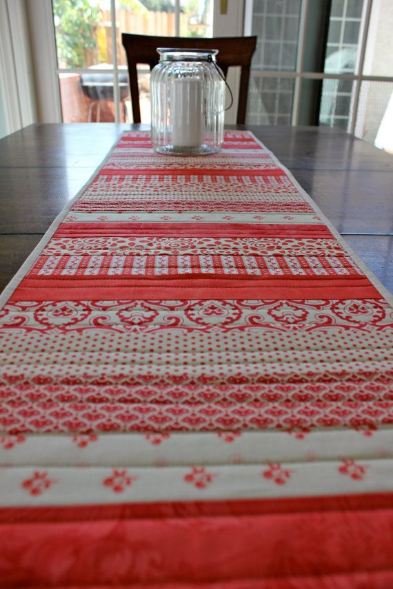 Red and White Table Runner Patchwork Quilt by StrawberryFieldQuilt