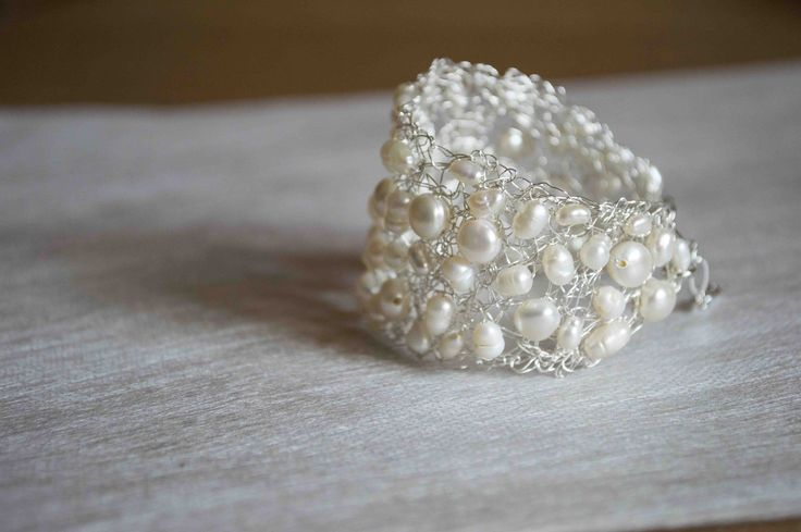 crochet bracelet handmade with natural pearls