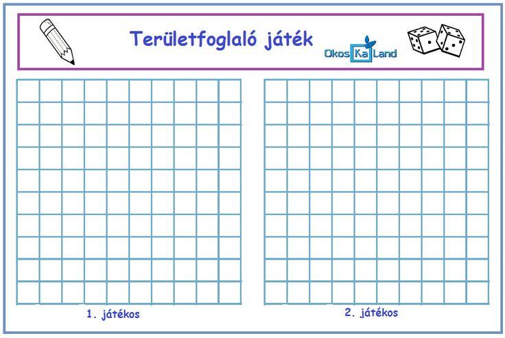Képességfejlesztés :: OkosKaLand  Az első játékos dob a két dobókockával, összeadja a dobott számokat, majd kiszínez annyi mezőt a játéktábláján, amennyi az eredmény.  Pl. dobott számok: 4, 3 à 4 + 3 = 7 àTehát 7 mezőt színez ki.  Az győz, aki előbb színezi ki az összes mezőt.  Játszhatjátok 3 dobókockával is!