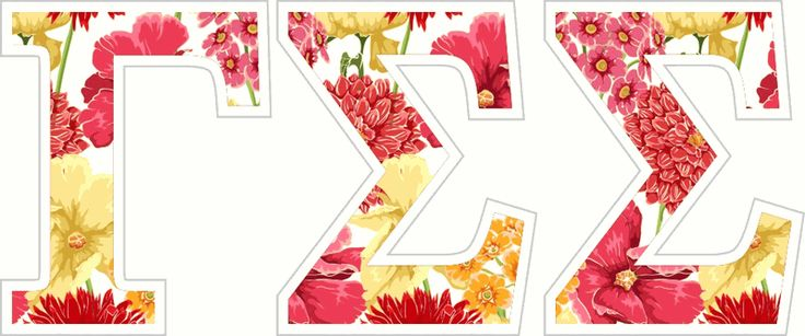 "Gamma Sigma Sigma Floral Greek Letter Sticker - 2.5"" Tall from GreekGear.com"