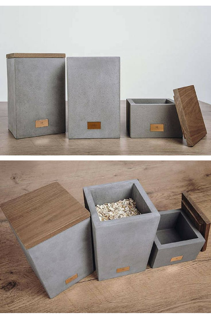 concrete and wood storage boxes.