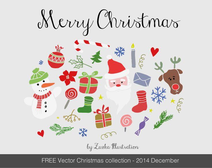 FREE Merry Christmas vector set -  http://bit.ly/zuzka_december_freebie