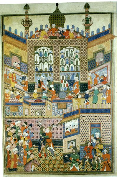 TitleZal greeting  CategoryPersian Painting  Object NameFirdawsi. Shahnamah