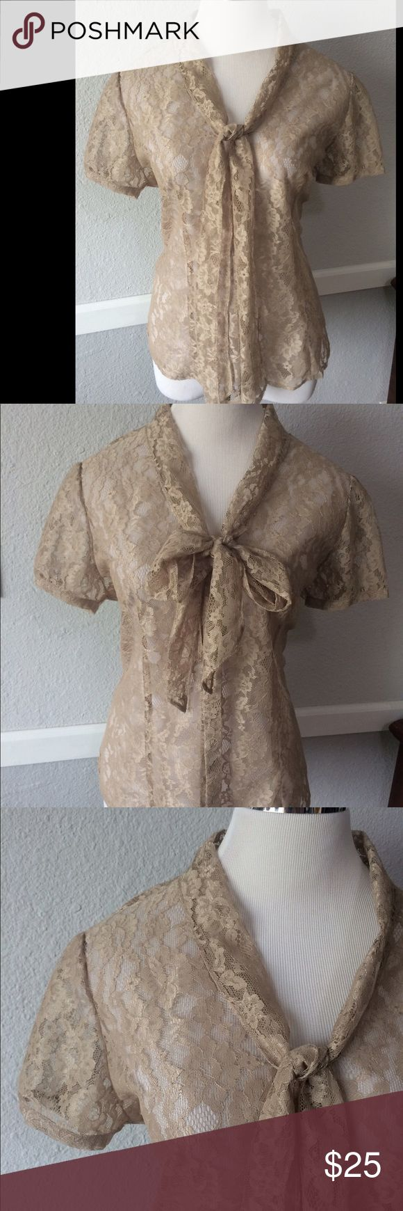 Cato Beige Lace Button Up Pussy Bow Large Like new. Would need a Cami or bandeau under. Very pretty. Victorian inspired. All Lace Cato Tops Blouses