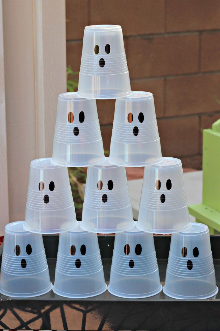 "#Halloween Ghost Busters! Shoot white ""ghost cups"" with a Nerf gun or knock them down with a bean bag."