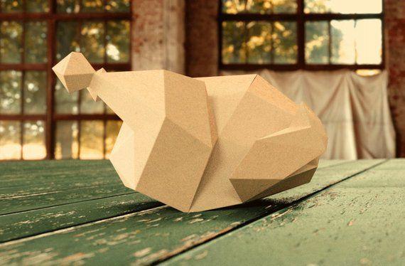 Braten Turkei 3d Papercraft Modell Origami Kunst Diy Muster Herunterladbare Pdf Vorlage Paper Crafts Street Art Crafts